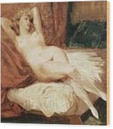 Female Nude Reclining On A Divan Wood Print by Eugene Delacroix