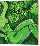 Female On A Mardi Gras Float Painted Wood Print