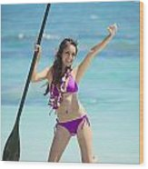 Female Stand Up Paddler Wood Print