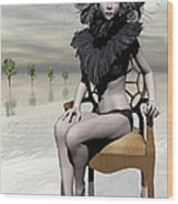 Femme Avec Chaise Wood Print by Sandra Bauser Digital Art