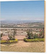 Fence And Garden Overlooking A Beautiful Vista Of Valley And Snow-capped Mountains Wood Print
