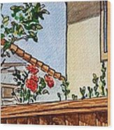Fence And Roses Sketchbook Project Down My Street Wood Print