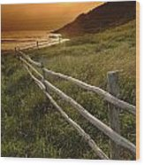 Fence And Sunset, Gooseberry Cove Wood Print