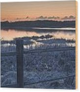 Fence By Lake At Sunset Wood Print