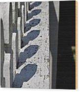 Fence Shadows Wood Print