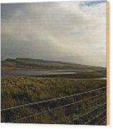 Fenced Landcsape Wood Print