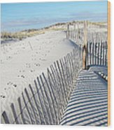 Fences Shadows And Sand Dunes Wood Print