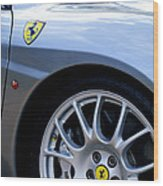 Ferrari Wheel And Emblems Wood Print