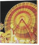 Ferris Wheel And Other Rides, Derry Wood Print