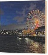 ferris wheel at night in Sydney Harbour Wood Print by Jacques Van Niekerk