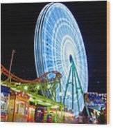 Ferris Wheel At Night Wood Print
