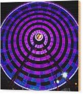 Ferris Wheel Blue Wood Print