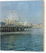 Ferris Wheel On The Santa Monica Pier Wood Print
