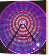Ferris Wheel Purple Wood Print