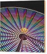 Ferris Wheel Rainbow Wood Print