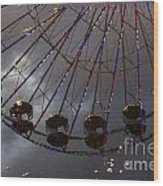 Ferris Wheel Reflection Wood Print