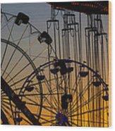 Ferris Wheels Wood Print