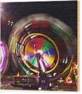 Ferris Wheels Go Round Wood Print