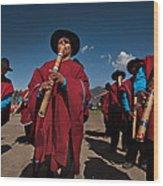 Festival De Danzas Tradicionales En La Poblacion De Copusquia. Republica De Bolivia. Wood Print by Eric Bauer