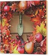 Festive Autumn Wreath Wood Print
