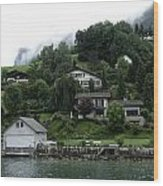 Few Houses On The Slope Of Mountain Next To Lake Lucerne In Switzerland Wood Print