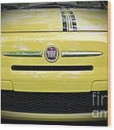 Fiat 500 Yellow With Racing Stripe Wood Print