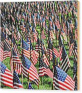 Field Of Flags Wood Print