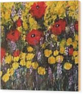 Field Of Flowers With Poppies Wood Print