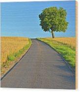 Field Path With Walnut Tree Wood Print