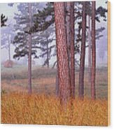 Field Pines And Fog In Shannon County Missouri Wood Print