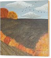 Fields And Birds Wood Print