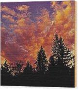 Fiery Evening Wood Print