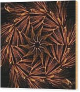 Fiery Pinwheel Wood Print