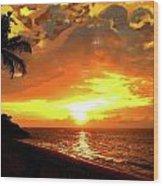 Fiery Sunset Wood Print by Yiries Saad