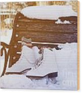 Figure Skates On The Bench Wood Print