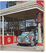 Filling Up The Old Ford Jalopy At The Associated Gasoline Station . Nostalgia . 7d12880 Wood Print