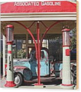 Filling Up The Old Ford Jalopy At The Associated Gasoline Station . Nostalgia . 7d12883 Wood Print
