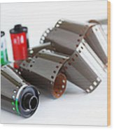 Film And Canisters Wood Print