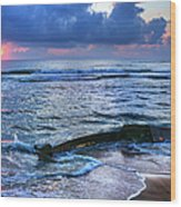 Final Sunrise - Beached Boat On The Outer Banks Wood Print