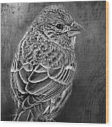 Finch Black And White Wood Print