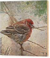 Finch Greeting Card With Verse Wood Print