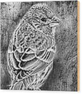 Finch Grungy Black And White Wood Print