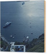 Fira Town View Santorini Wood Print
