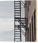 Fire Escape In Boston Wood Print