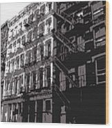 Fire Escapes Bw3 Wood Print
