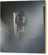 Fire Fighter In A Burnt House Wood Print