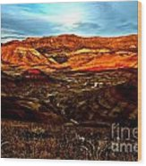 Fire In The Painted Hills Wood Print