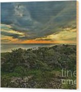 Fire Over The Outer Banks Wood Print