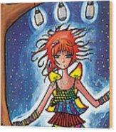 Firefly Girl Wood Print by Jen Kiddo
