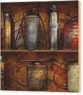 Fireman - Fire Control Wood Print by Mike Savad